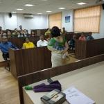 Ms. Vasudha Gore addressing audience on Yoga Day