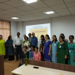 Group photo of all the attendees with Yoga Day Speaker, Ms. Vasudha Gore